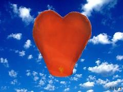 ČERVENÝ lampión štěstí velké srdce 75cm!