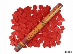ČERVENÉ vystřelovací konfety srdíčka tuba 60cm