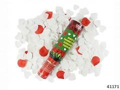 Červené plátky růží / bílé puntíky vystřelovací konfety tuba