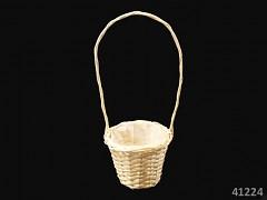 Přírodní košíček pro družičku na okvětní plátky růží kulatý košík
