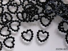 ČERNÉ perleťové kamínky srdíčka k dekoraci