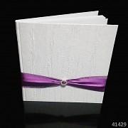 BÍLÁ svatební kniha hostů s FIALOVOU stuhou luxusní
