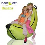Zelený neon sedací vak pro děti Banán Comfort ekokůže