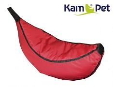 Červený tmavě sedací vak pro děti Banán Comfort ekokůže