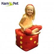 Červená hrací kostka RINS 35 ŽLUTÉ tečky taburet KamPet