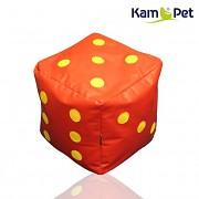 Červená hrací kostka EKOKŮŽE sedací vak pro děti taburet KamPet