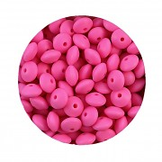 RŮŽOVÉ NEON silikonové korálky 9mm rondelky ze silikonu
