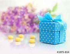 MODRÁ S PUNTÍKY dárková krabička na svatební mandle