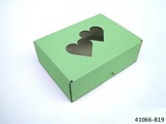 ZELENÁ Extra pevná svatební krabička na výslužku se srdíčky