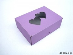 FIALOVÁ Extra pevná svatební krabička na výslužku se srdíčky