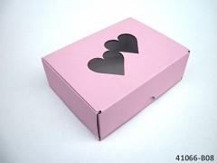 RŮŽOVÁ extra pevná svatební krabička na výslužku se srdíčky