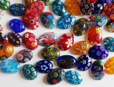 Pestrobarevný kabošon Millefiori MIX skleněný kamínek