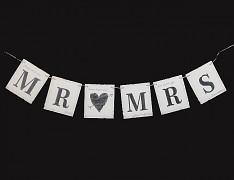 Svatební girlanda MR & MRS juta