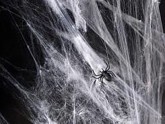 BÍLÁ pavučina ve spreji HELLOWEEN dekorace
