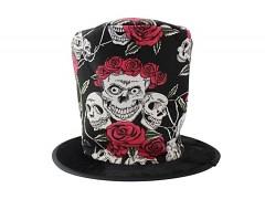ČERNÝ halloween cylindr klobouk na karneval růže lebky