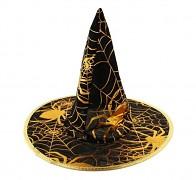 ČERNÝ s zlatými pavučinami čarodějnický klobouk karneval / halloween