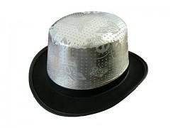 Černo - stříbrný cylindr dekorace svatebního auta či na karneval