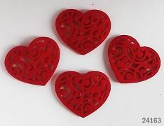 Červené srdce VELKÉ ozdoba aplikace plst filc