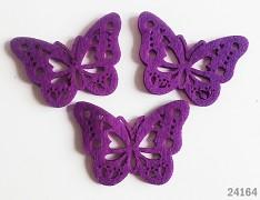 FIALOVÝ motýl VELKÝ ozdoba aplikace plst filc