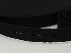 ČERNÁ knoflíková guma k řasení 15mm, á 1m
