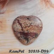 Obrázkový jaspis SRDCE přívěšek na náhrdelník minerální kámen