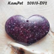 Fialový Lepidolit VELKÝ přívěšek srdce na náhrdelník luxusní minerální kámen