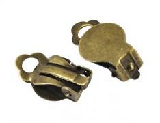 Bronzové náušnice klipsy s lůžkem bižuterní komponent, 2páry