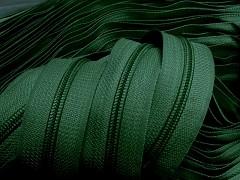 Zipová páska v metráži - zelená tmavě