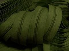 Zipová páska v metráži - zelená khaki