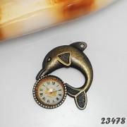 Vintage přívěšek bronzový HODINY / DELFÍN
