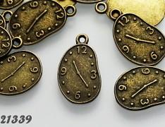 Vintage přívěšky bronzové HODINY, bal. 2ks