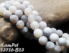 Šedý achát dračí kuličky 10mm přírodní minerál AA kvalita, á 1ks