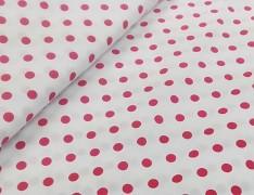 Bílá látka s červenými puntíky 06 puntíkované plátno ATEST DĚTI,  á 1m