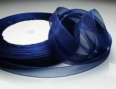 Modrá tmavě stuha organzová 6mm organza stužka šifónová modrá tmavá, á 1m