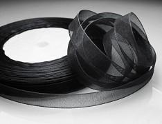 Černá stuha organzová 6mm organza stužka šifónová černá, á 1m