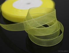 Žlutá stuha organzová 6mm organza stužka šifónová žlutá citrón, á 1m