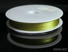 Zelený bižuterní drát tiger drát 0,38mm khaki zelený drát, á 1m