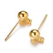 Zlaté náušnice puzety kuličky náušnicový bižuterní komponent