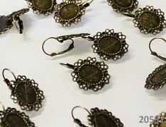Bronzové visací náušnice s lůžkem náušnicové bižuterní komponenty