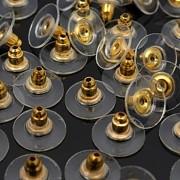 Plastové zarážky k náušnicím zlaté - zarážka k náušici, á 1ks