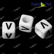 Bílé korálky písmena V korálek písmenko V písmenka