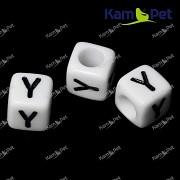 Bílé korálky písmena Y korálek písmenko Y písmenka ypsilon