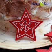 Červený dřevěný přívěšek velký vánoční HVĚZDIČKA k dekoaci á 1ks