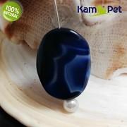 Modrý achát kámen na náhrdelník šperkový přírodní minerál