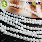 Bílá PERLEŤ kuličky 3,5mm přírodní minerál luxusní perly