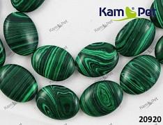 Zeleno - černý proužkovaný Malachit OVÁL 20mm