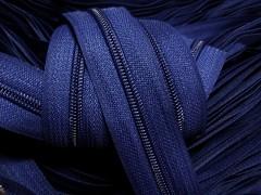 Modrý tmavý zip nekonečný zipová páska metráž zipu