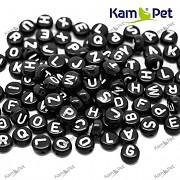 Černé korálky písmena 7mm, korálky s písmenky