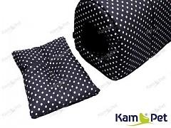 Černý polštářek do boudičky pro pejska KamPet Classic černý s puntíky