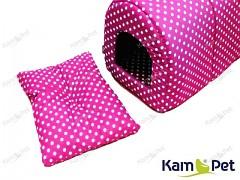 Polštářek do boudičky pro pejska vel. 1 KamPet Classic puntík 06 Růžový cyklám